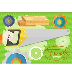 Hand saw set for wood vector image