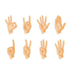 hands deaf-mute different gestures human arm vector image
