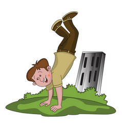 Happy boy doing handstand vector