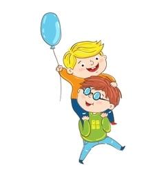Happy children playing cartoon characters vector