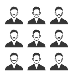 Hipster with mustache set on white background vector