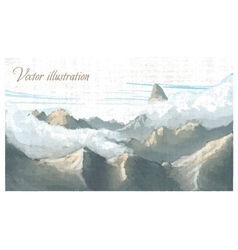 Mountain landscape Watercolor imitation in vector image
