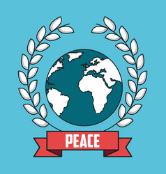 Peace world wreath laurel ribbon postcard modern vector