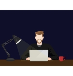 People working on front of laptop until late night vector