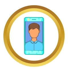 Photo in mobile phone icon vector
