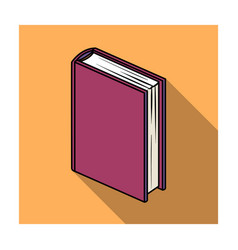 Purple standing book icon in flat style isolated vector