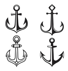 set of anchors icons isolated on white background vector image vector image