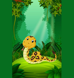Snake in the clear and green forest vector