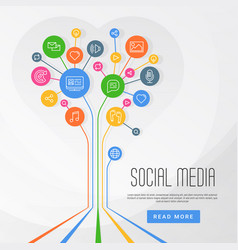 social media infographics circles with flat icons vector image