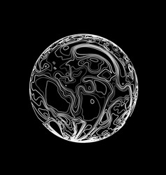 sphere in the form of lines marble style ink vector image vector image