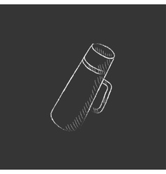 Thermos drawn in chalk icon vector