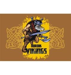 Viking warrior with big sword vector