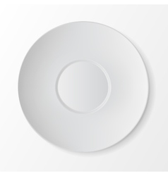 White round sauser top view table setting vector
