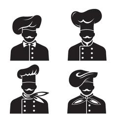 mustachioed chefs set vector image