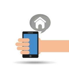 concept social media hand holding smartphone web vector image