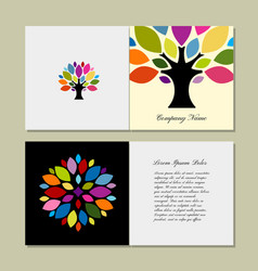 Greeting card design with art tree vector