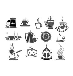 Cafe cafeteria coffee cups and beans icons vector