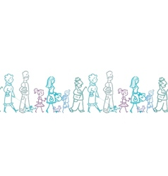 People walking horizontal seamless pattern vector