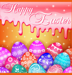 Card with easter eggs and icing sugar vector