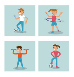 Set kids practicing sport physical education vector