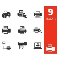 balck printer icons set vector image