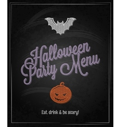 Halloween menu chalkboard restaurant background vector