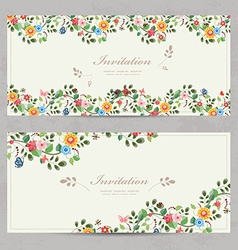 Cute floral invitation cards for your design vector