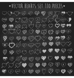 Set of hearts chalkboard blackboard vector