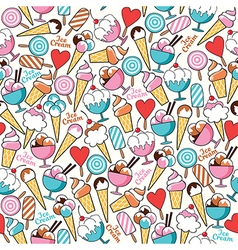 Seamless pattern ice cream vector