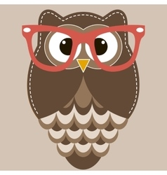 Brown owl with glasses vector image