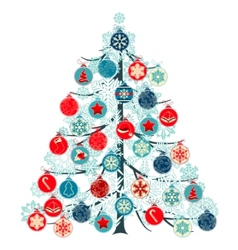 christmas tree made of balls vector image