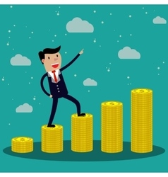 Cartoon businessman step on stack of gold coin vector