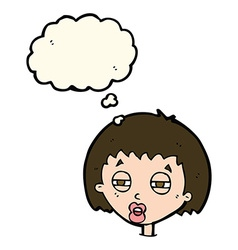 Cartoon woman narrowing eyes with thought bubble vector