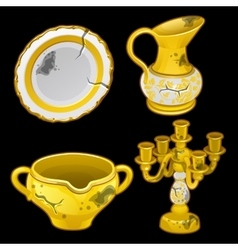 Greek old dishes and candlesticks four items vector