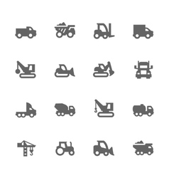Simple construction vehicles icons vector