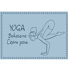 Outline girl in crane yoga pose vector
