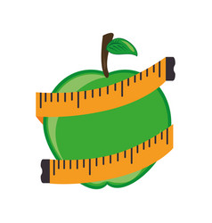 apple fruit with tape measure vector image