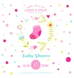 Baby Girl Shower or Arrival Card - with Cute Socks vector image vector image