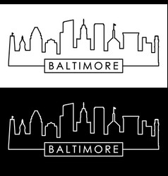 baltimore skyline linear style editable file vector image