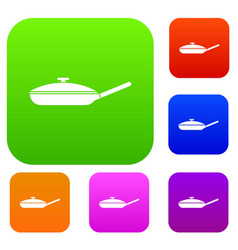 Black frying pan set collection vector