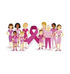 Breast cancer awareness women people ribbon united vector image vector image