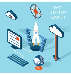 Cartooned Easy Start-up Launch Infographic Design vector image vector image