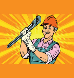 Construction worker with adjustable wrench vector