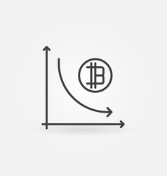 Cryptocurrency decline graph line icon vector