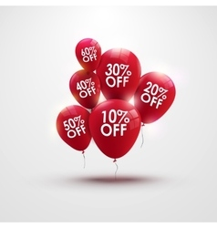 Discounts balloons with discount numbers vector
