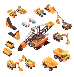 Extractive equipment isometric set vector