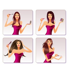 Fashion model is representing cosmetic collection vector image