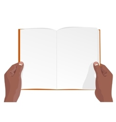 hands of african american holding a blank book vector image