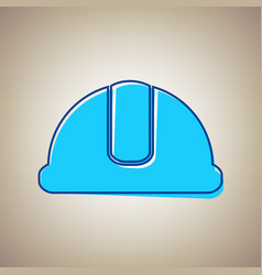 Hardhat sign sky blue icon with defected vector