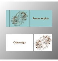 Horizontal flower banner template ornate vector image vector image